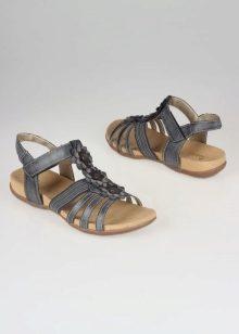 Rieker Ladies Leopard Wedge Sandal Brown Combination