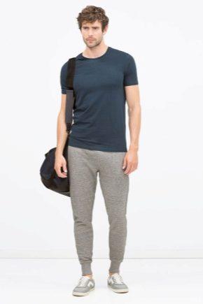 Pantaloni la modă pentru bărbați cu elastic la partea de jos