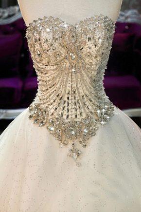 Evening dress with a corset