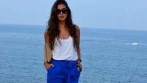Pantaloni blu da donna