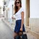 Que puis-je porter avec une jupe courte en jean?
