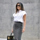 What can I wear with a gray pencil skirt?