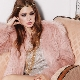 Jaket bulu merah jambu - campuran feminin, bergaya dan glamor