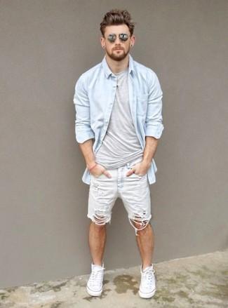 white shorts combination men