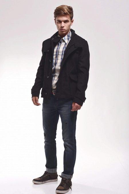 Jaket Lelaki 93 Gambar Drape Dengan Tudung Jaket Kulit
